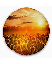 "Designart 'Yellow Sunset Over Sunflowers' Floral Throw Pillow - 16"" Round"