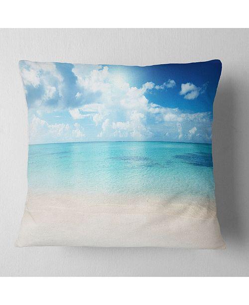 "Design Art Designart 'Sand of Beach In Blue Caribbean Sea' Modern Seascape Throw Pillow - 16"" x 16"""