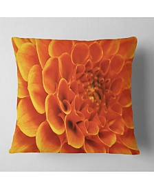 "Designart 'Large Orange Flower and Petals' Floral Throw Pillow - 16"" x 16"""