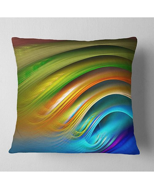 "Design Art Designart 'Colorful Fractal Water Ripples' Abstract Throw Pillow - 16"" x 16"""