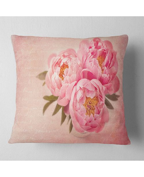 "Design Art Designart 'Peony Flowers Against Scribbled Back' Floral Throw Pillow - 16"" x 16"""
