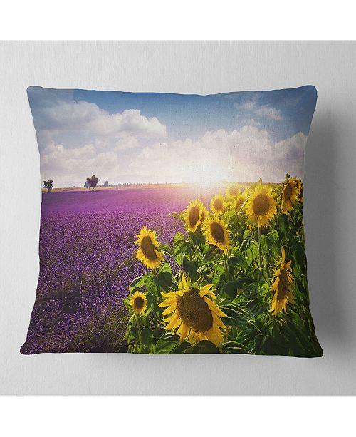 """Design Art Designart 'Lavender and Sunflower Fields' Floral Throw Pillow - 16"""" x 16"""""""