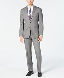 Men's Slim-Fit Flex Stretch Wrinkle-Resistant Black/White Birdseye Suit