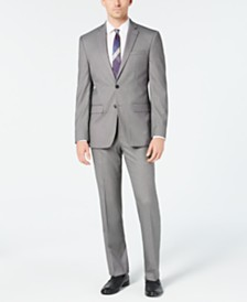 Van Heusen Men's Slim-Fit Flex Stretch Wrinkle-Resistant Black/White Birdseye Suit