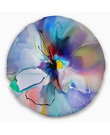 "Designart 'Abstract Creative Blue Flower' Floral Throw Pillow - 16"" Round"
