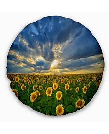 "Designart 'Beauty Sunset Over Sunflowers' Landscape Printed Throw Pillow - 20"" Round"