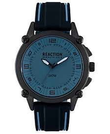 Kenneth Cole Reaction Analog Men's Blue Silicone Strap Watch, 49MM