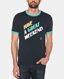 Original Penguin Men's Have A Great Weekend Graphic Ringer T-Shirt