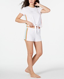 I.N.C. Super Soft Pride Tie-Front Top and Shorts Pajama Set, Created for Macy's
