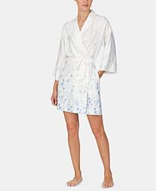 Flower-Print Satin Wrap Robe