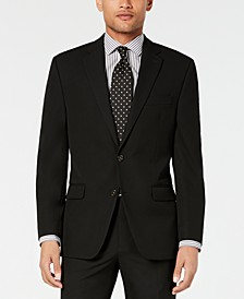 Men's Classic-Fit Stretch Wrinkle-Resistant Black Solid Suit Jacket