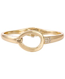 Laundry by Shelli Segal Gold-Tone Crystal Oval Hinge Bracelet