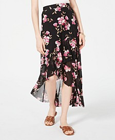 Juniors' Floral-Print High-Low Skirt, Created for Macy's