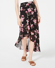 American Rag Juniors' Floral-Print High-Low Skirt, Created for Macy's