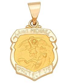 Saint Michael Badge Medal Pendant in 14k Yellow Gold