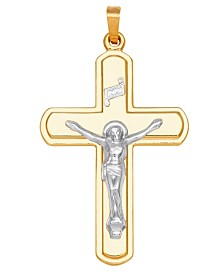 Crucifix Cross Pendant in 14k Yellow and White Gold