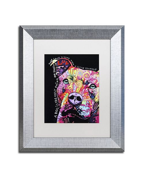 """Trademark Global Dean Russo 'Thoughtful Pit Bull' Matted Framed Art - 14"""" x 11"""" x 0.5"""""""