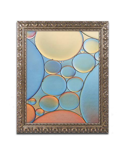 "Trademark Global Cora Niele 'Blue and Apricot Drops' Ornate Framed Art - 14"" x 11"" x 0.5"""