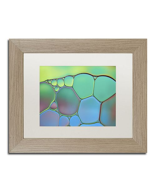 "Trademark Global Cora Niele 'Lime Green and Blue Stained Glass' Matted Framed Art - 14"" x 11"" x 0.5"""
