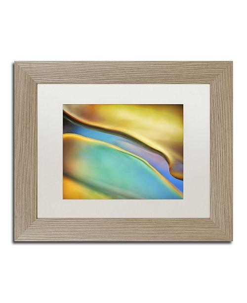 "Trademark Global Cora Niele 'Yellow and Aqua Blue Flow' Matted Framed Art - 14"" x 11"" x 0.5"""