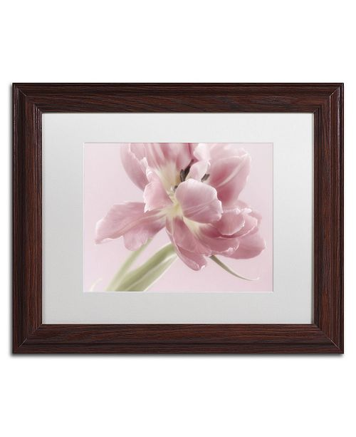 "Trademark Global Cora Niele 'Soft Pink Tulip' Matted Framed Art - 14"" x 11"" x 0.5"""