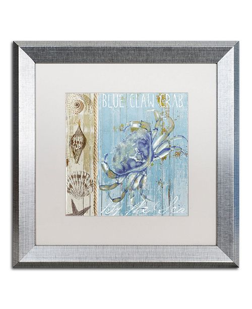 "Trademark Global Color Bakery 'Blue Crab I' Matted Framed Art - 16"" x 0.5"" x 16"""