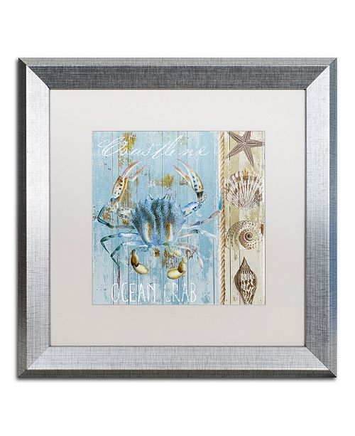 "Trademark Global Color Bakery 'Blue Crab II' Matted Framed Art - 16"" x 0.5"" x 16"""