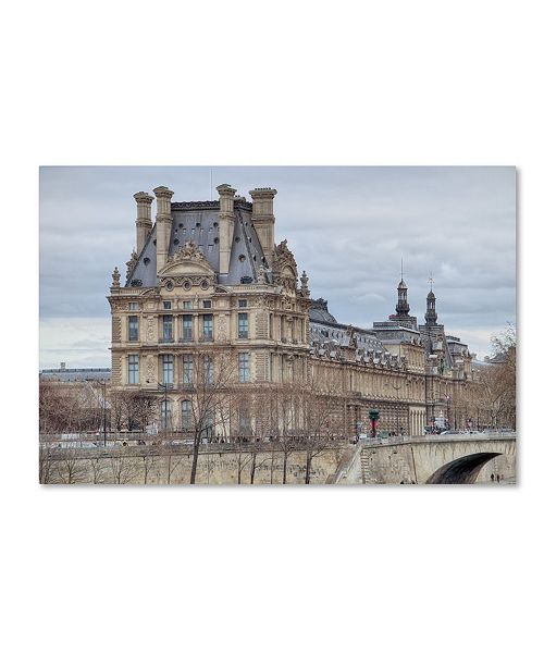 """Trademark Global Cora Niele 'The Louvre And Pont Royal' Canvas Art - 47"""" x 30"""" x 2"""""""