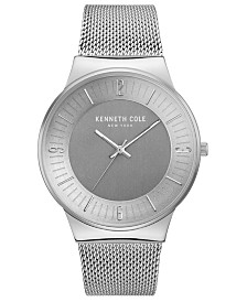 Kenneth Cole New York Men's Stainless Steel Mesh Bracelet with Classic Dial, 42MM