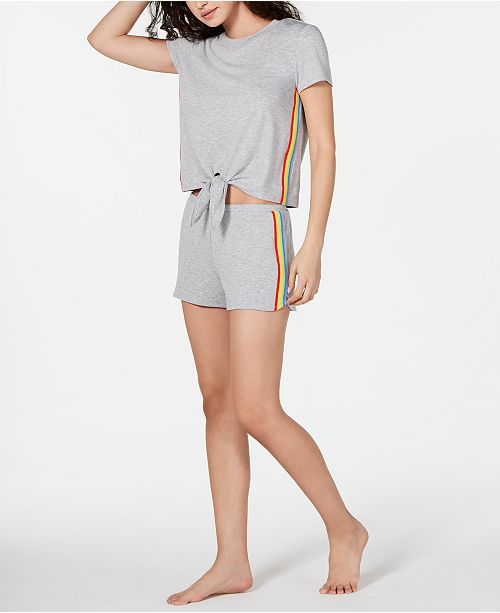 INC International Concepts INC Super Soft Rainbow Tie-Front Top and Shorts Pajama Set, Created for Macy's