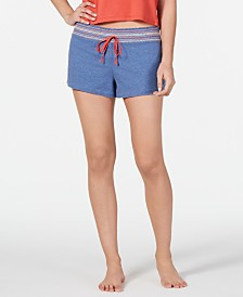 Jenni Embroidered Cotton Drawstring Pajama Shorts, Created for Macy's