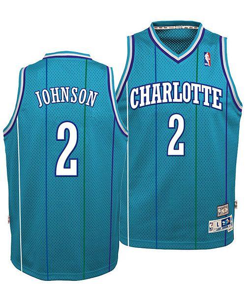 5f6fda061 ... adidas Big Boys Larry Johnson Charlotte Hornets Retired Player Swingman  Jersey ...