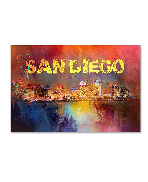 "Trademark Global Jai Johnson 'Sending Love To San Diego' Canvas Art - 47"" x 30"" x 2"""