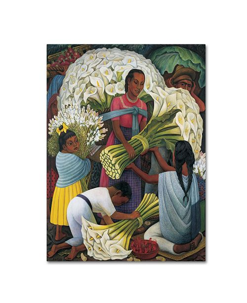 "Trademark Global Diego Rivera 'The Flower Vendor' Canvas Art - 19"" x 14"" x 2"""