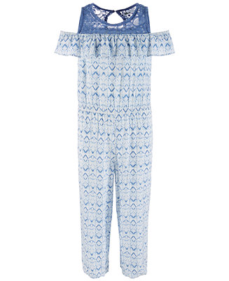 Big Girls Lace Trim Geo Print Jumpsuit, Created For Macy's by General