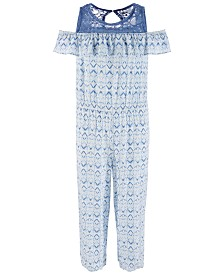 Epic Threads Big Girls Lace-Trim Geo-Print Jumpsuit, Created for Macy's