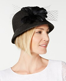 August Hats Feather Flower & Netting Cloche, Created for Macy's