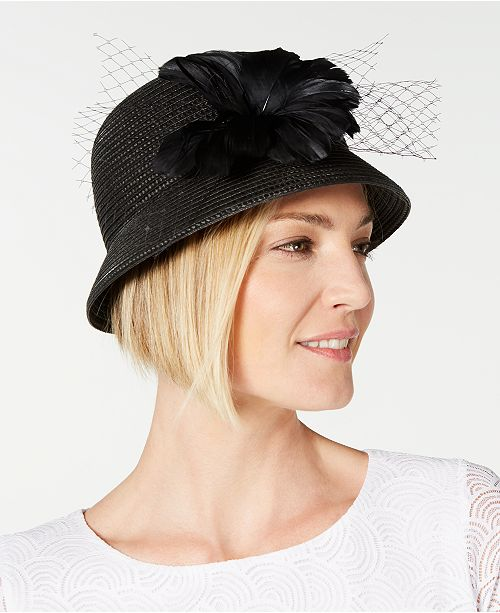 2ead73226969d August Hats Feather Flower   Netting Cloche
