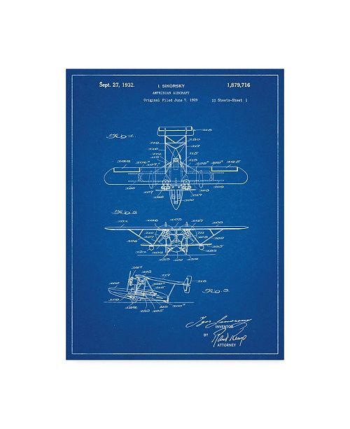 "Trademark Global Cole Borders 'Plane 1' Canvas Art - 24"" x 18"" x 2"""