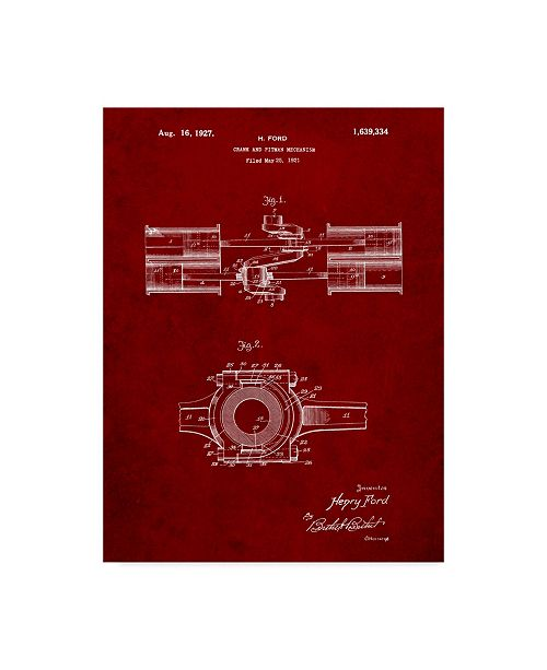 """Trademark Innovations Cole Borders 'Ford Crank And Pitman' Canvas Art - 24"""" x 18"""" x 2"""""""