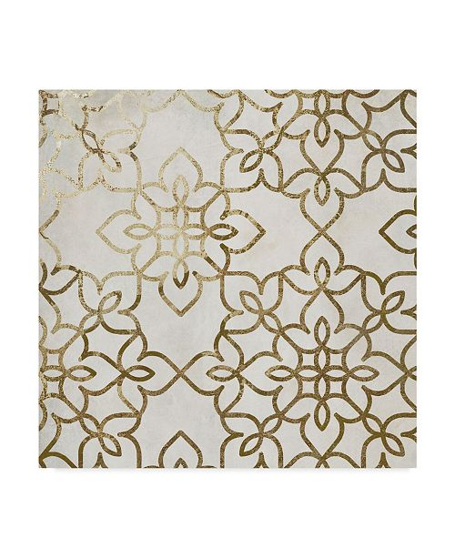 """Trademark Global Color Bakery 'Salima Gold White' Canvas Art - 18"""" x 18"""" x 2"""""""