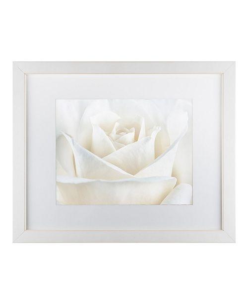 "Trademark Global Cora Niele 'Pure White Rose' Matted Framed Art - 14"" x 11"" x 0.5"""