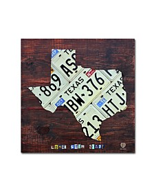 "Design Turnpike 'Texas License Plate Map Large' Canvas Art - 14"" x 14"" x 2"""