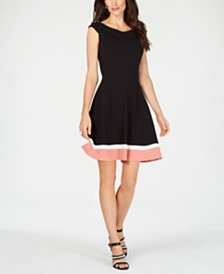 Connected Colorblocked-Hem Fit & Flare Dress
