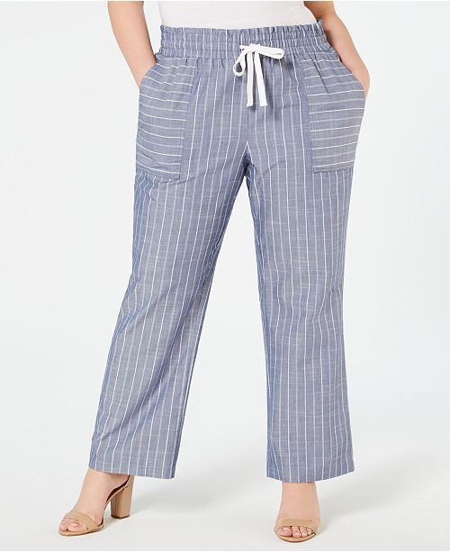 NY Collection Petite Plus Size Pinstriped Drawstring Pants