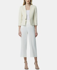 Tahari ASL Textured Blazer & Cropped Pants