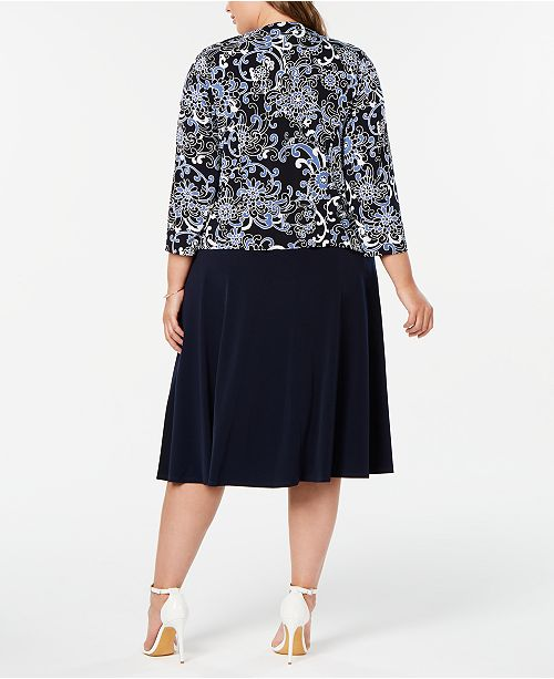 5664be3e9945 Jessica Howard Plus Size Printed Jacket & Dress & Reviews - Dresses ...