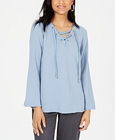 Cotton Lace-Up Textured Top, Created for Macy's