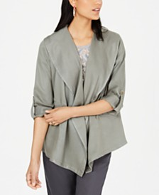 Style & Co Draped Open-Front Jacket, Created for Macy's