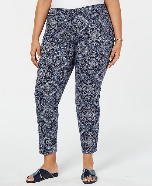 Charter Club Plus Size Printed Ankle Jeans, Created for Macy's